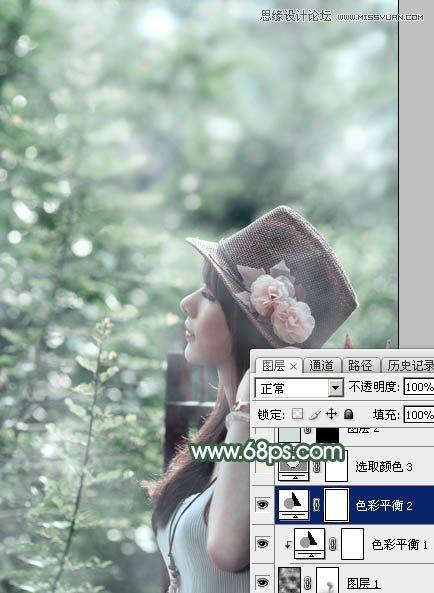 Photoshop调出唯美青色效果的外景人像
