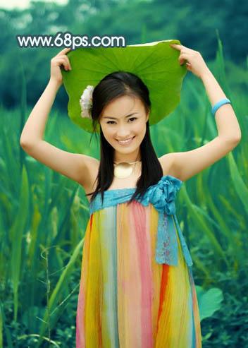 Photoshop调出暗调青黄怀旧色彩的美女照片