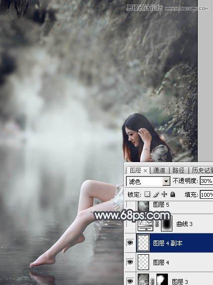 Photoshop给河边女孩照片添加暴风雨效果