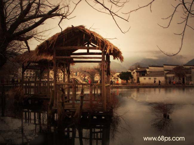 Photoshop制作水墨效果画的深秋乡村照片