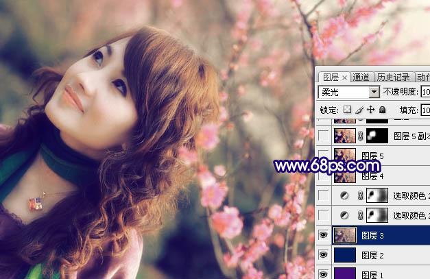Photoshop调色制作淡粉色效果的外景照片