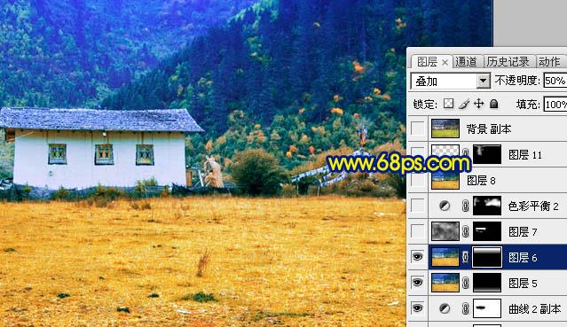 Photoshop给秋色高原照片润色美化处理教程