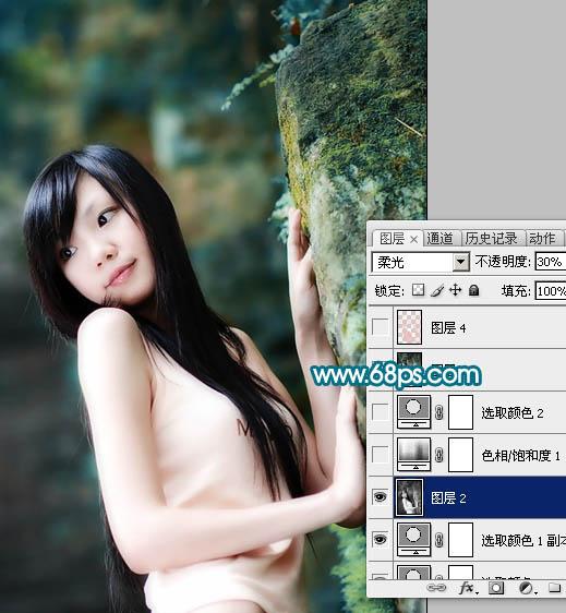PS调色调出暗青色素雅效果的美女照片教程