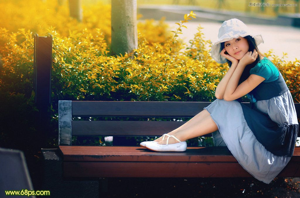 Photoshop调出暖色逆光效果的公园果子照片