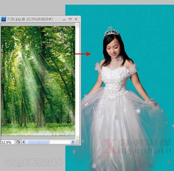 Photoshop合成红色唯美蝴蝶背景的婚纱照片