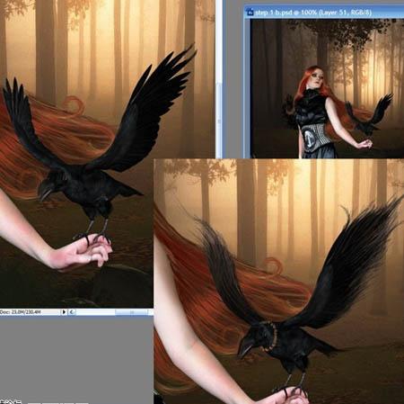 Photoshop合成黑夜恐怖效果的森林中女巫照片