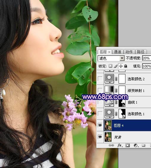 Photoshop调出柔美粉紫色效果的外景人物照片