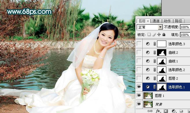 Photoshop调出中性青红色外景婚纱照片片教程