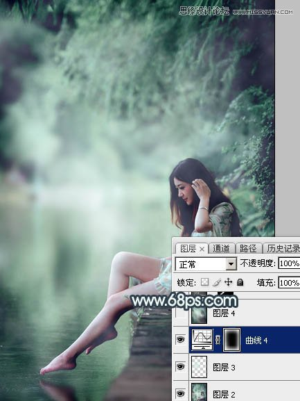 Photoshop调出唯美青蓝色效果的河边女孩