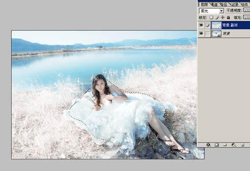 Photoshop调色打造唯美洁白色彩的湖景婚纱照