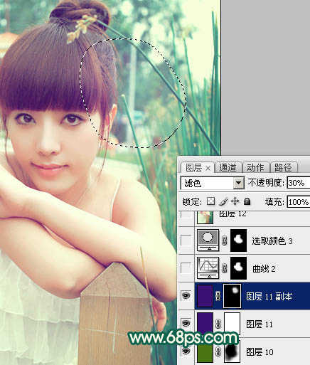 Photoshop调出粉嫩青色效果的外景美女照片