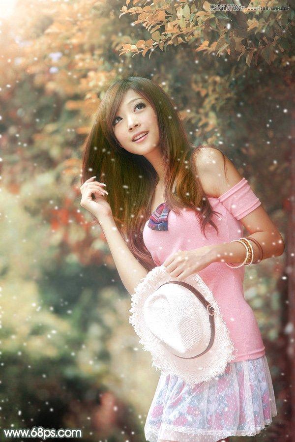 PS调色制作雪景暖色效果的外景美女照片