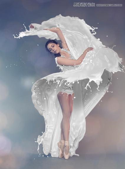 Photoshop合成牛奶喷溅效果的美女人像教程