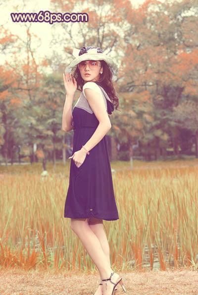 Photoshop调出橙色甜美效果的美女写真照片