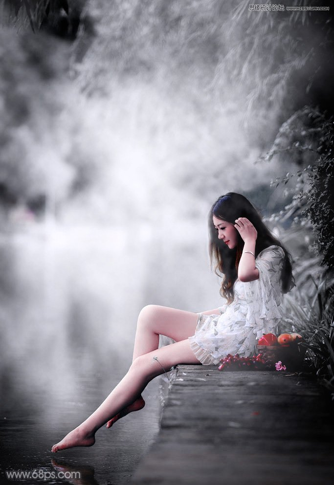Photoshop调出黑白冷色效果的河边人像教程