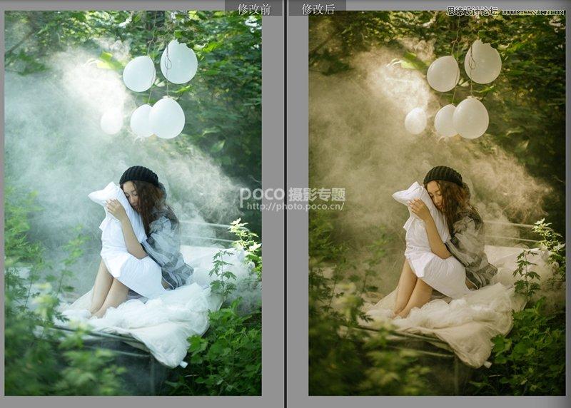 Photoshop合成怀旧复古效果的森林系人像照片