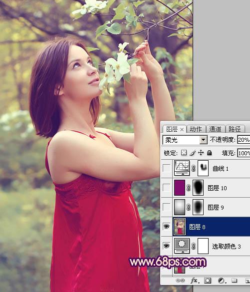 Photoshop调出甜美粉色效果的人物特写照片