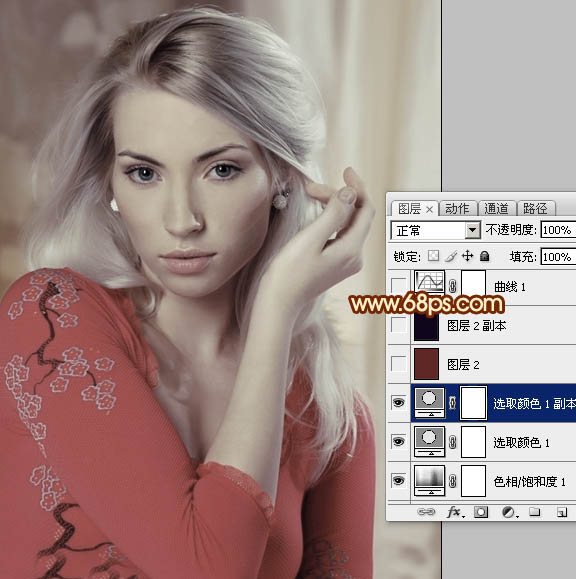 Photoshop调色淡红色怀旧效果的美女特写照片