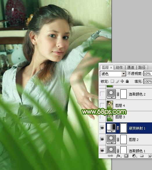 PS给室内人物照片添加青色效果和提亮处理