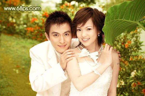 Photoshop制作柔美金黄色效果的婚纱照片