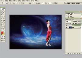 Photoshop合成唯美背景色彩的艺术模特照片