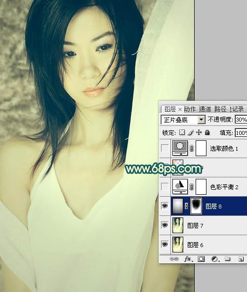 Photoshop调出青黄冷艳色彩效果的美女照片