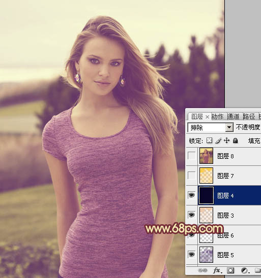 Photoshop调出暖色调橙黄色效果美女照片教程