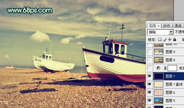 Photoshop调出黄褐色怀旧效果沙滩风景照片