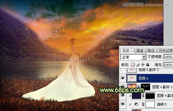 Photoshop调出金色黄昏美景效果的外景婚纱照片