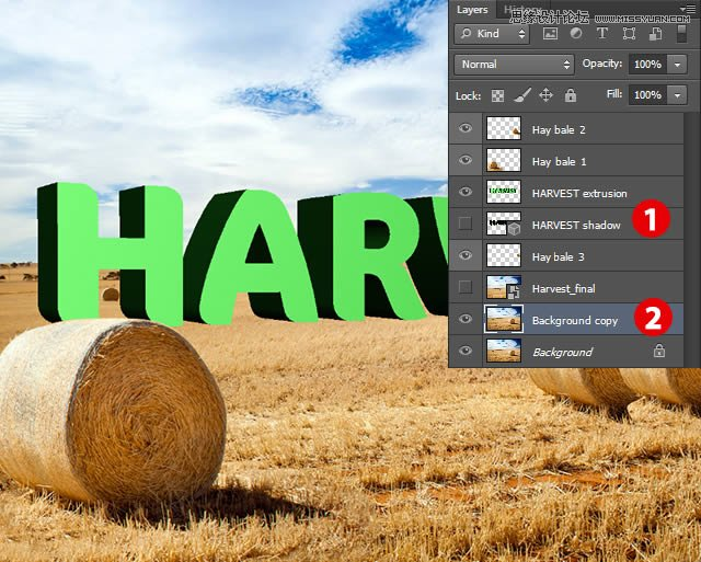 详解Photoshop制作3D风格的草堆字体特效