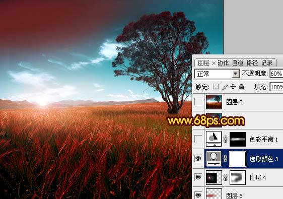 用Photoshop调出漂亮暗红色效果的风景照片