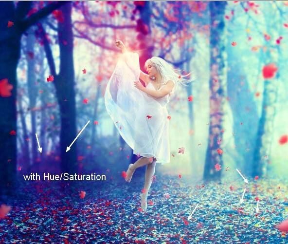 Photoshop合成唯美树林中跳舞的美女图片