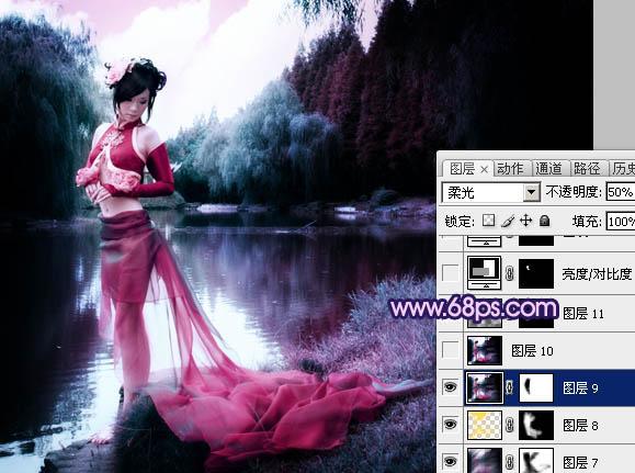 Photoshop调出暗紫色效果的古装美女照片
