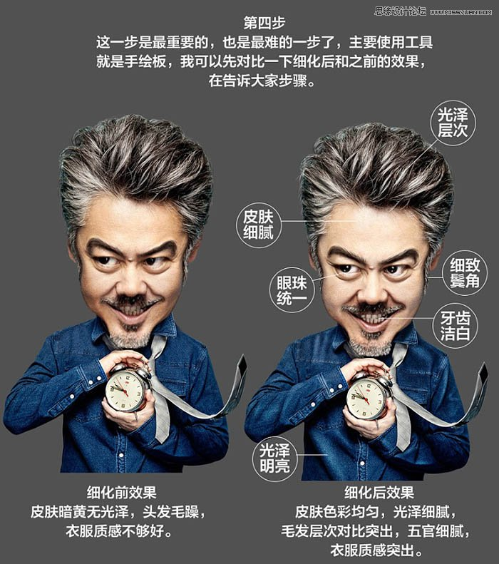 Photoshop把大叔的照片转为可爱的Q版大头像
