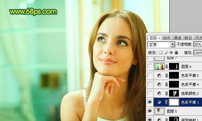 Photoshop给室内人物数码照片美化润色教程