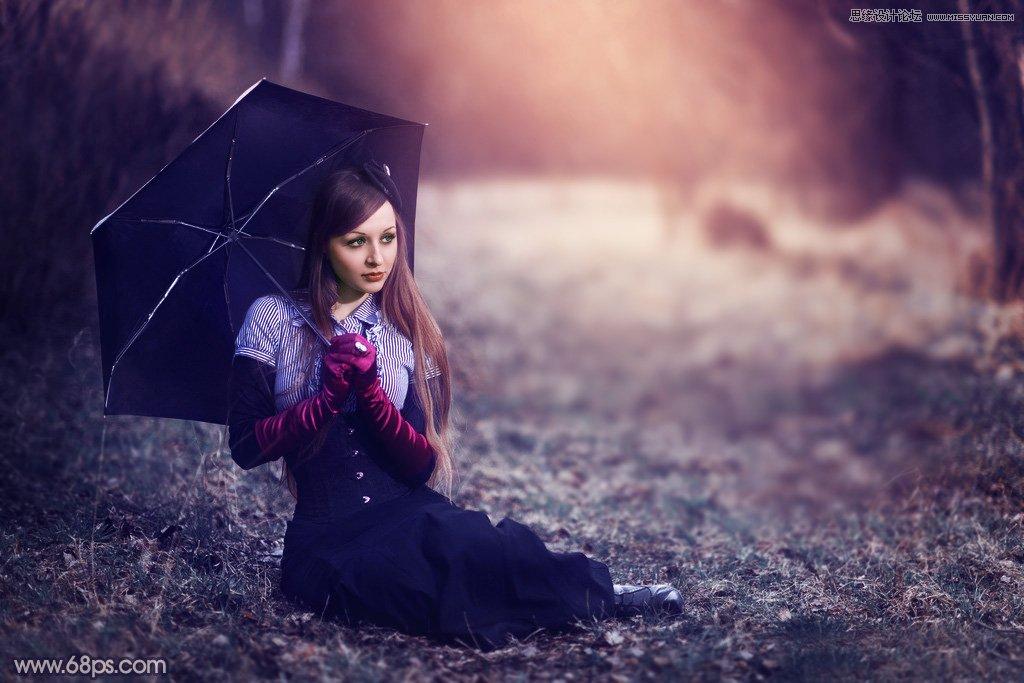 Photoshop调出秋季暖色效果的外景女孩照片