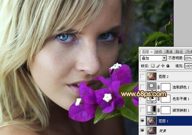Photoshop给偏灰人物头像照片磨皮润色教程