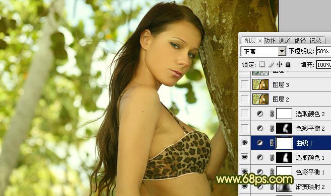 Photoshop调出甜美橙黄色效果外景美女照片