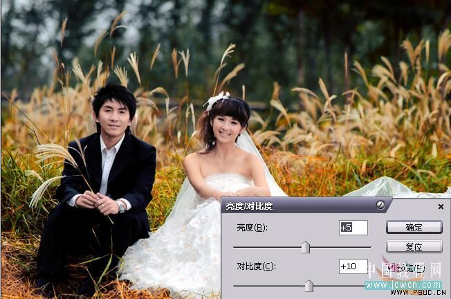Photoshop调出秋色甜蜜外景婚片处理教程