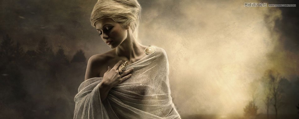Photoshop合成秋季金色调的人像美女照片