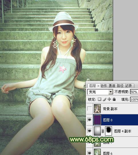 Photoshop调色青绿色效果的美女近照图片