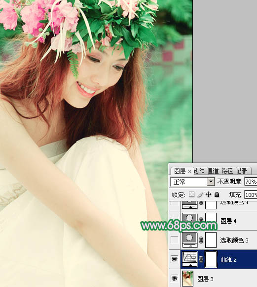 Photoshop调出青色柔美的写真婚纱照片教程