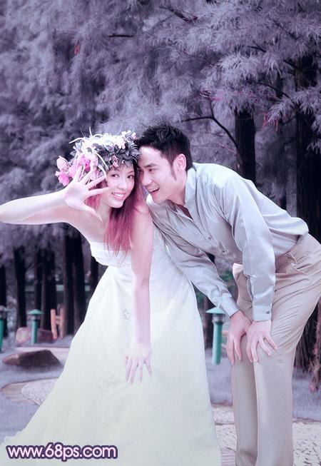Photoshop调出浪漫紫色外景情侣婚片教程