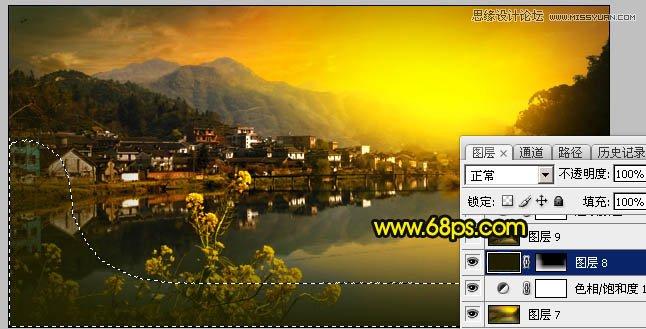 Photoshop调出金色夕阳效果的水乡风景照片