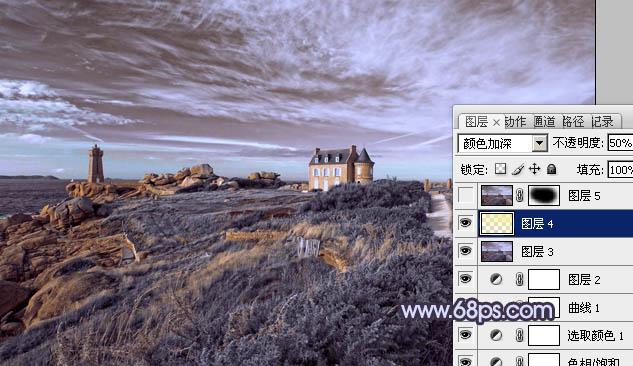 Photoshop调出对比强烈的紫灰色风景照片