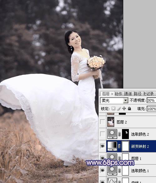Photoshop调出漂亮的蓝色怀旧外景婚纱照片