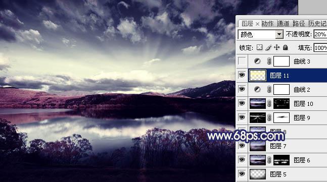用Photoshop制作暗紫色质感高原湖景照片