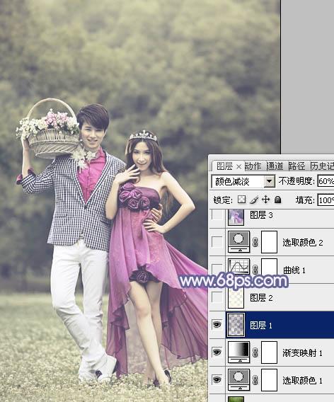 Photoshop调出浅蓝色俏皮可爱的婚纱照片