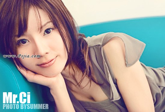Photoshop制作日系素雅青黄色调美女照片