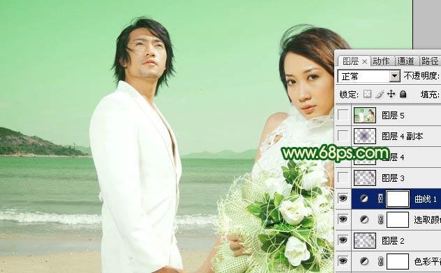 用Photoshop打造草绿色效果的海景婚纱照片